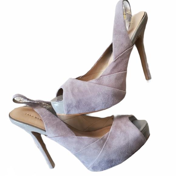 Zara Slingback peep toe heel in grey 38